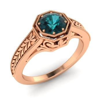 ring gold and stone down princess with blue rose top diamonds karat shaped portfolio diamond cut triangular