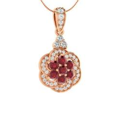 4a05b9cd0c1 Ruby and Diamond Necklace in 14k Rose Gold - Abriana