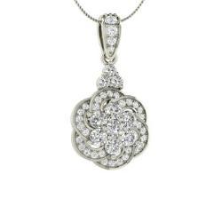 329a7550685 VVS Diamond and Diamond Nature Necklace in 14k White Gold - Abriana
