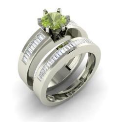 Bridal Ring Set Peridot Peridot Bridal Rings Diamondere