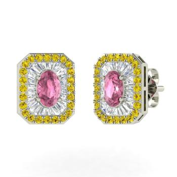 3fe5bfd5e Oval-Cut Pink Tourmaline Studs Earring in 14k White Gold with Canary Diamond,  VS