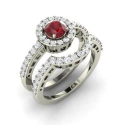 Ruby And Diamond Bridal Set Ring In 14k White Gold Adoncia