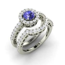 tanzanite and diamond bridal set ring in 14k white gold 108 cttw - Tanzanite Wedding Rings