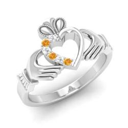 a803cdbc21315 Platinum Claddagh Rings & Bands For Women | Diamondere