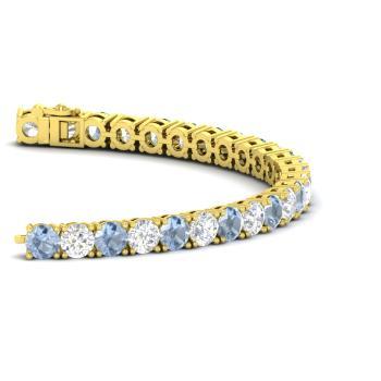 Aquamarine And Diamond Tennis Bracelet In 18k Yellow Gold
