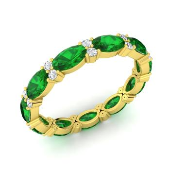 Emerald Wedding Band.Aida