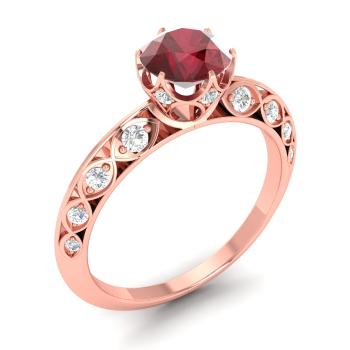 Alana ring with round ruby si diamond 13 carat round ruby ruby and diamond sidestone ring in 14k rose gold junglespirit Image collections