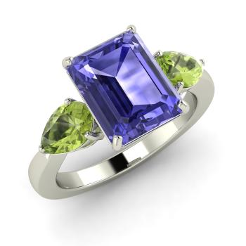 wife rings design two emerald loving jewelry cut gold gift in for tanzanite item wedding engagement natural special from solid real tone accessories
