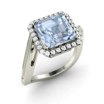 Alma Engagement Ring With Cushion Cut Aquamarine Si Diamond 2 63