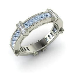 Aquamarine And VS Diamond Wedding Ring In 14k White Gold   Amissa