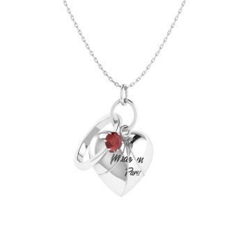 Anaita necklace with round garnet 019 carat round garnet heart garnet heart necklace in 14k white gold mozeypictures Images