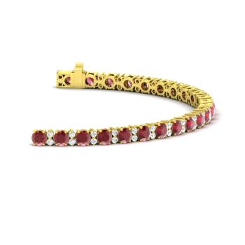 Ruby And Diamond Tennis Bracelet In 18k Yellow Gold