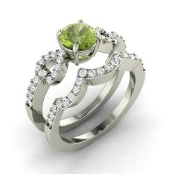 peridot and diamond bridal set ring in 14k white gold 114 cttw - Peridot Wedding Rings