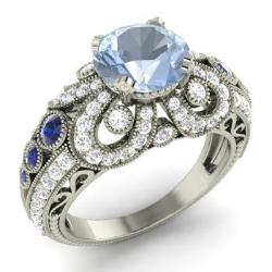 aquamarine engagement ring in 14k white gold with sapphire si diamond 275 ct - Vintage Wedding Rings For Women