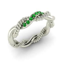 emerald wedding ring in 14k white gold 011 cttw ardena - Emerald Wedding Rings