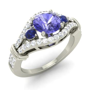 ec2975dde Tanzanite Sidestone Engagement Ring in 14k White Gold with Sapphire, SI  Diamond