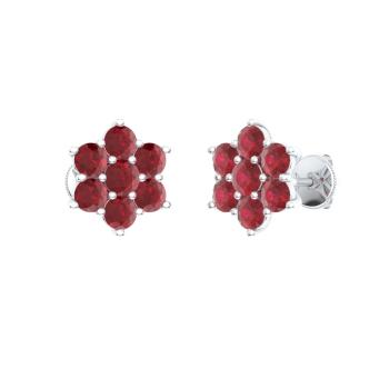 Ruby Studs Earring In Sterling Silver