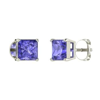 Princess Cut Tanzanite Studs Earring In 14k White Gold