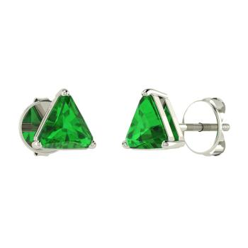 Triangle Cut Emerald Studs Earring In 14k White Gold