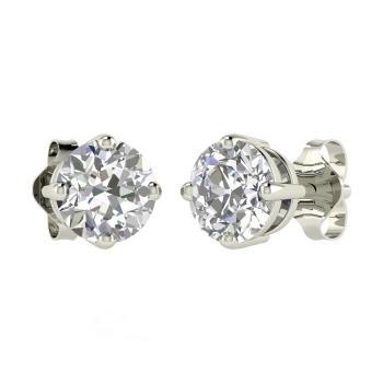 Vvs Diamond Studs Earring In 18k White Gold