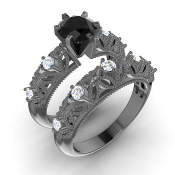 black diamond and diamond bridal set ring in 18k black gold - Black Diamond Wedding Ring