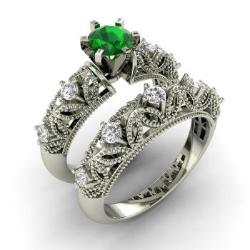 Emerald And Diamond Bridal Set Ring In 14k White Gold Balbina