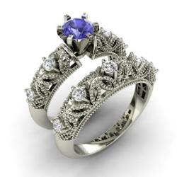 Bridal Ring Set Tanzanite Tanzanite Engagement Ring Set Diamondere