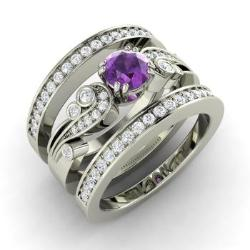 Amethyst Engagement Ring In 14k White Gold With Si Diamond Balis
