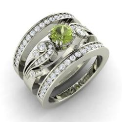 peridot and diamond bridal set ring in 14k white gold 10 cttw - Peridot Wedding Rings