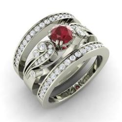 Ruby And Diamond Bridal Set Ring In 14k White Gold Balis