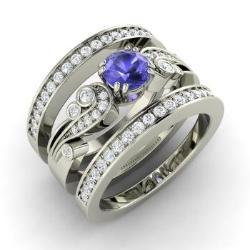 Tanzanite And Diamond Bridal Set Ring In 14k White Gold Balis
