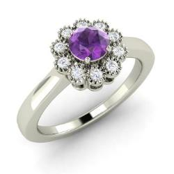 Amethyst Engagement Ring in 14k White Gold with SI Diamond (0.47 ct.tw.