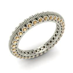 Brown Diamond Wedding Ring In 14k White Gold Ballista
