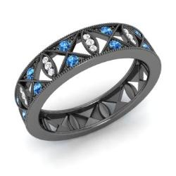 Blue Topaz Rings in Black Gold Diamondere