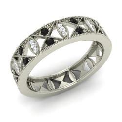 black diamond and diamond wedding ring in 14k white gold 053 cttw - Black Diamond Wedding Ring