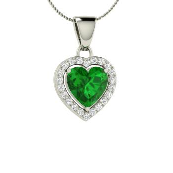 Beleza necklace with heart cut emerald si diamond 103 carat heart cut emerald and diamond heart necklace in 14k white gold aloadofball Images