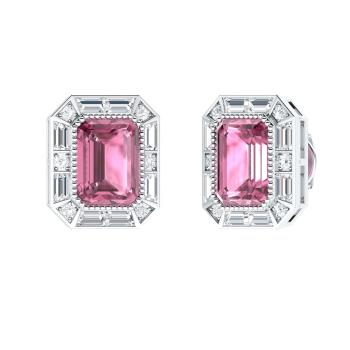 Emerald Cut Pink Tourmaline Studs Earring In 14k White Gold With Vs Diamond Si