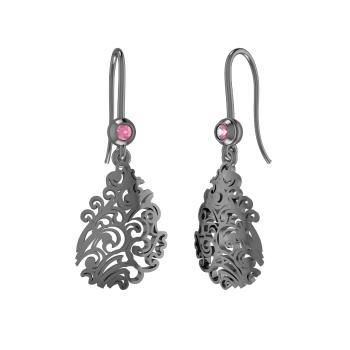 Pink Sapphire Chandelier Earring In 10k Black Gold