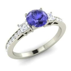 Tanzanite Engagement Ring In 14k White Gold With Vs Diamond Si Birqitta