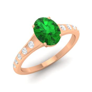 Bishop Engagement Ring with Oval Emerald SI Diamond
