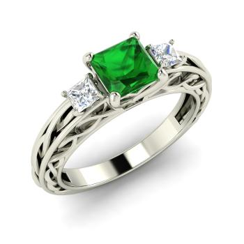 Princess-Cut Emerald and VS Diamond Sidestone Ring in 14k White Gold