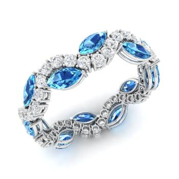 Marquise Cut Blue Topaz And Diamond Wedding Ring In Platinum