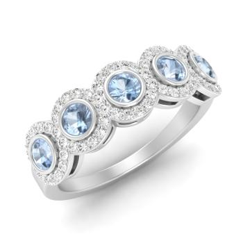 aquamarine and diamond wedding ring in platinum - Aquamarine Wedding Ring