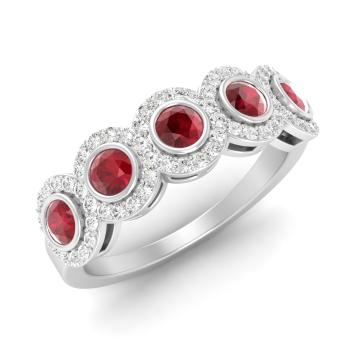 Boden ring with round ruby si diamond 087 carat round ruby ruby and diamond wedding ring in 14k white gold junglespirit Image collections