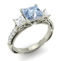 Aquamarine Engagement Rings For Women March Birthstone Engagement