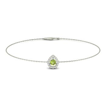 Peridot And Diamond Chain Bracelet In 14k White Gold