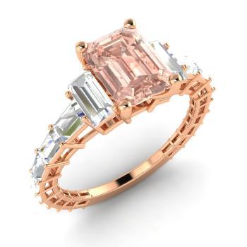 Rose gold emerald cut morganite engagement ring