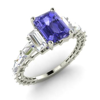 lrg halo emerald tanzanite phab gold baguette white with cut diamond detailmain ring in main