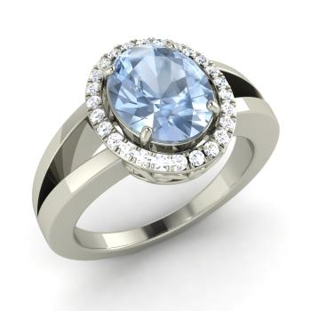 802c7ddcf3f Oval-Cut Aquamarine and I Diamond Halo Engagement Ring in 14k White Gold
