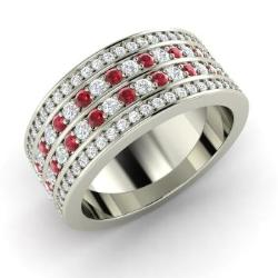 ruby wedding ring in 14k white gold with diamond 176 cttw - Ruby Wedding Ring